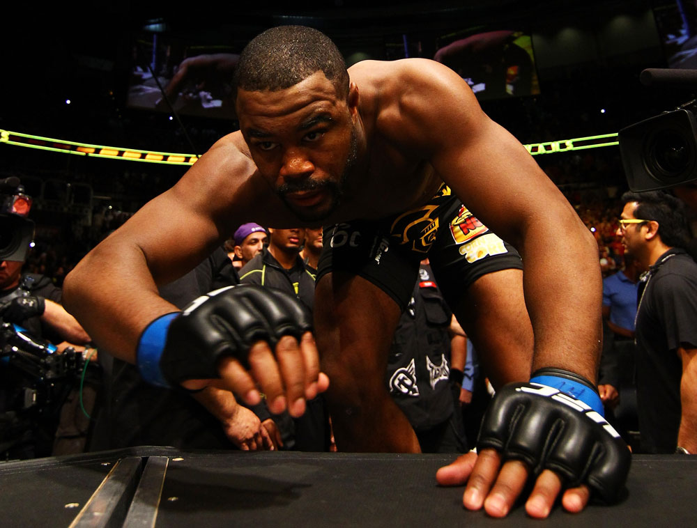 ATLANTA, GA - APRIL 21:  Rashad Evans climbs into the octagon for his light heavyweight title bout against Jon Jones for UFC 145 at Philips Arena on April 21, 2012 in Atlanta, Georgia.  (Photo by Al Bello/Zuffa LLC/Zuffa LLC via Getty Images)