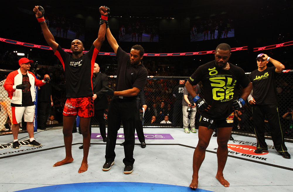 ATLANTA, GA - APRIL 21:  Jon Jones (L) celebrates defeating Rashad Evans (R) by unanimous decision in their light heavyweight title bout for UFC 145 at Philips Arena on April 21, 2012 in Atlanta, Georgia.  (Photo by Al Bello/Zuffa LLC/Zuffa LLC via Getty Images)