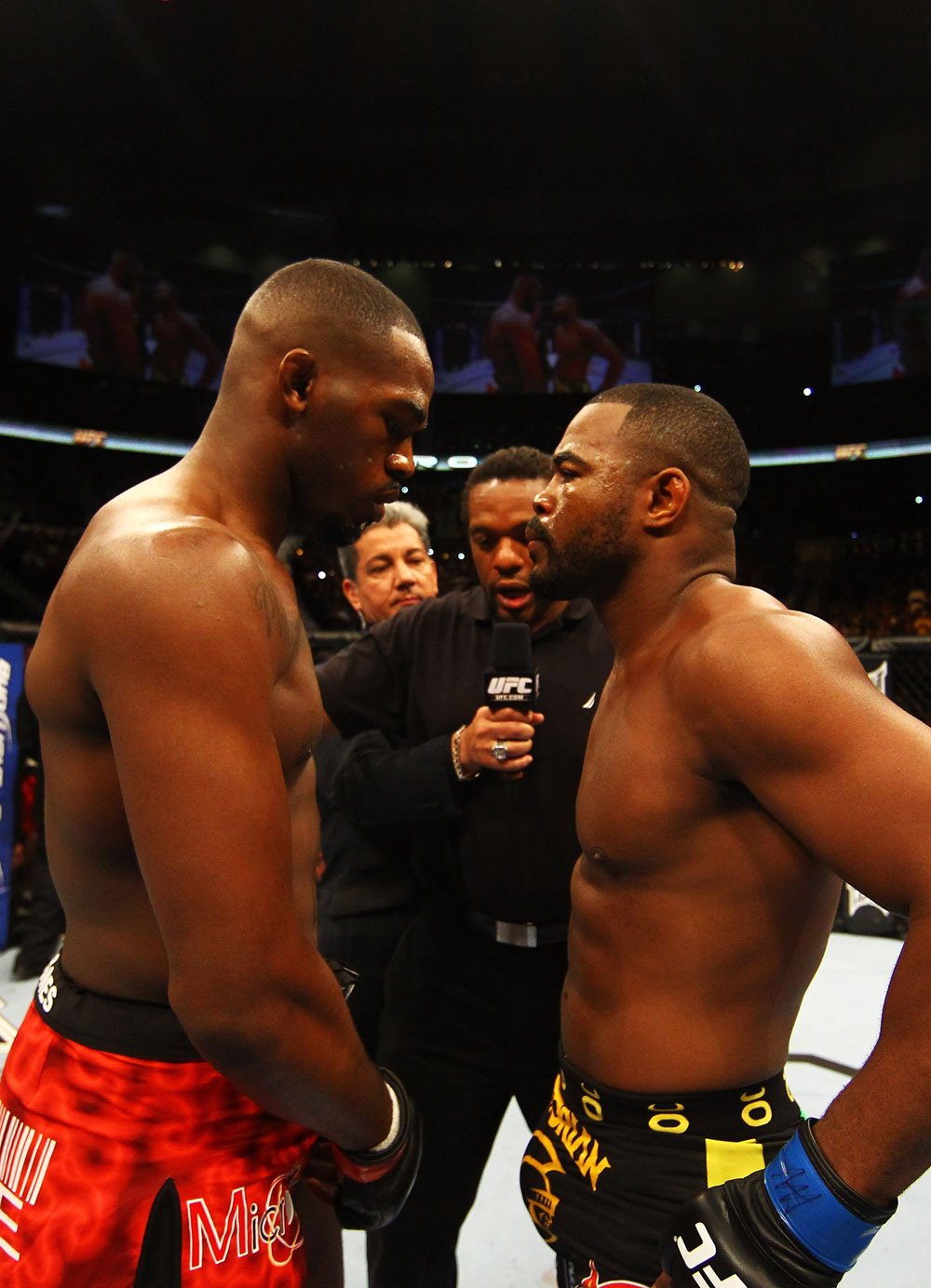ATLANTA, GA - APRIL 21:  Jon Jones (R) squares off with Rashad Evans prior to their light heavyweight title bout for UFC 145 at Philips Arena on April 21, 2012 in Atlanta, Georgia.  (Photo by Al Bello/Zuffa LLC/Zuffa LLC via Getty Images)