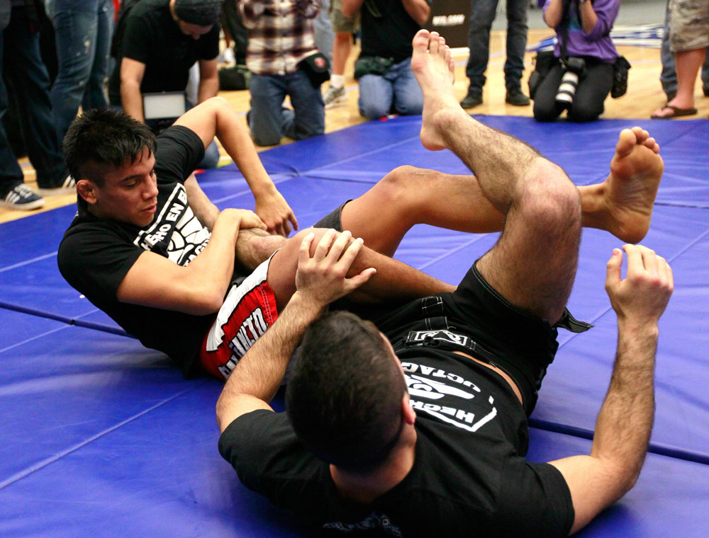 ATLANTA, GA - APRIL 19:  Miguel Angel Torres works out for the media during UFC 145 open workouts at GSU Sports Arena on April 19, 2012 in Atlanta, Georgia.  (Photo by Kevin C. Cox/Zuffa LLC/Zuffa LLC via Getty Images)