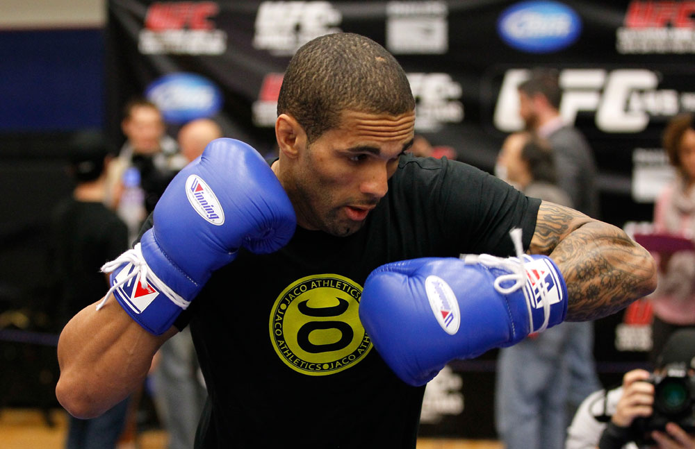 ATLANTA, GA - APRIL 19:  Che Mills of England works out for the media during UFC 145 open workouts at GSU Sports Arena on April 19, 2012 in Atlanta, Georgia.  (Photo by Kevin C. Cox/Zuffa LLC/Zuffa LLC via Getty Images)
