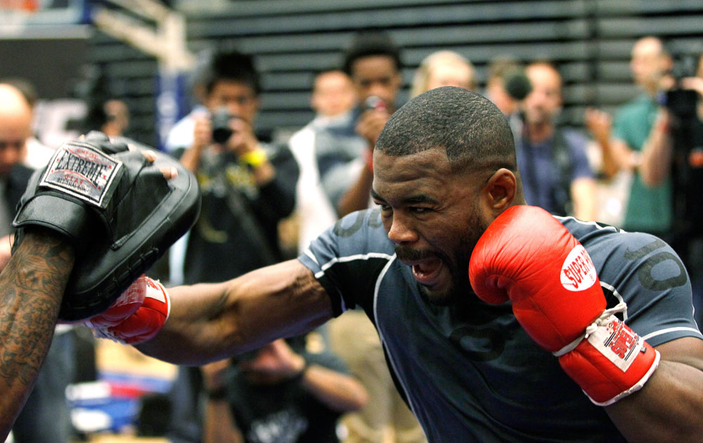 ATLANTA, GA - APRIL 19:  Rashad Evans works out for the media during UFC 145 open workouts at GSU Sports Arena on April 19, 2012 in Atlanta, Georgia.  (Photo by Kevin C. Cox/Zuffa LLC/Zuffa LLC via Getty Images)