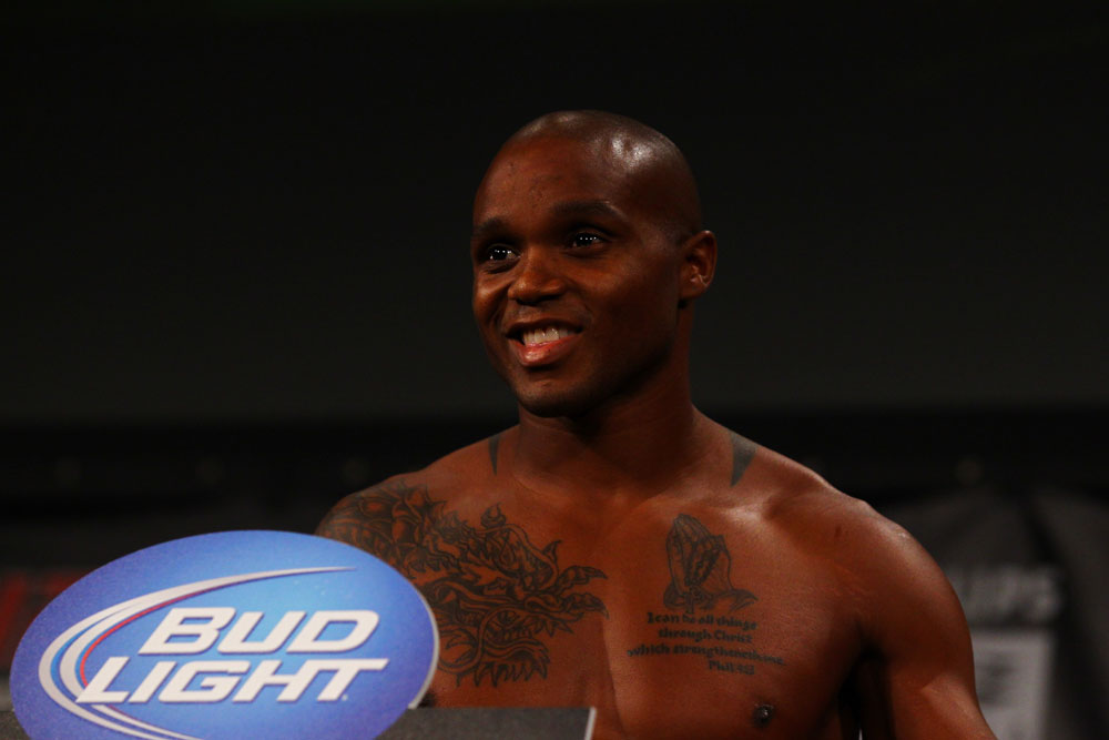 ATLANTA, GA - APRIL 20:  Featherweight fighters Marcus Brimage weighs in for his fight against Maximo Blanco during the UFC 145 official weigh in at Fox Theatre on April 20, 2012 in Atlanta, Georgia.  (Photo by Al Bello/Zuffa LLC/Zuffa LLC via Getty Images)
