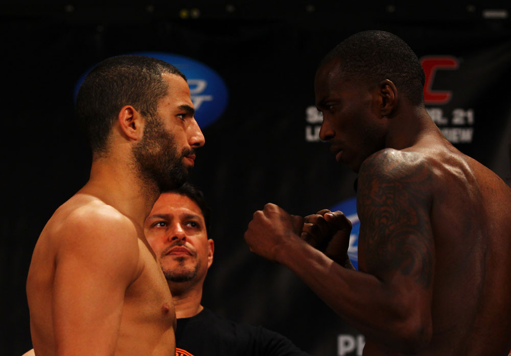 ATLANTA, GA - APRIL 20:  Lightweight fighters John Makdessi (L) and Anthony Njokuani square off during the UFC 145 official weigh in at Fox Theatre on April 20, 2012 in Atlanta, Georgia.  (Photo by Al Bello/Zuffa LLC/Zuffa LLC via Getty Images)
