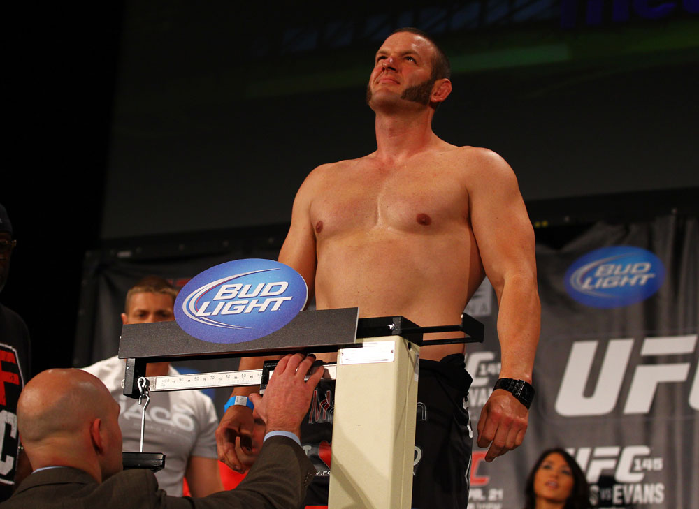 ATLANTA, GA - APRIL 20:  Heavyweight fighter Chad Griggs weighs in for his bout against Travis Browne during the UFC 145 official weigh in at Fox Theatre on April 20, 2012 in Atlanta, Georgia.  (Photo by Al Bello/Zuffa LLC/Zuffa LLC via Getty Images)