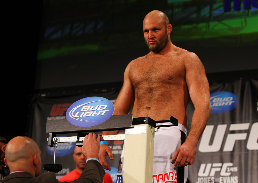 ATLANTA, GA - APRIL 20:  Heavyweight fighter Ben Rothwell weighs in for his bout with Brendan Schaub during the UFC 145 official weigh in at Fox Theatre on April 20, 2012 in Atlanta, Georgia.  (Photo by Al Bello/Zuffa LLC/Zuffa LLC via Getty Images)
