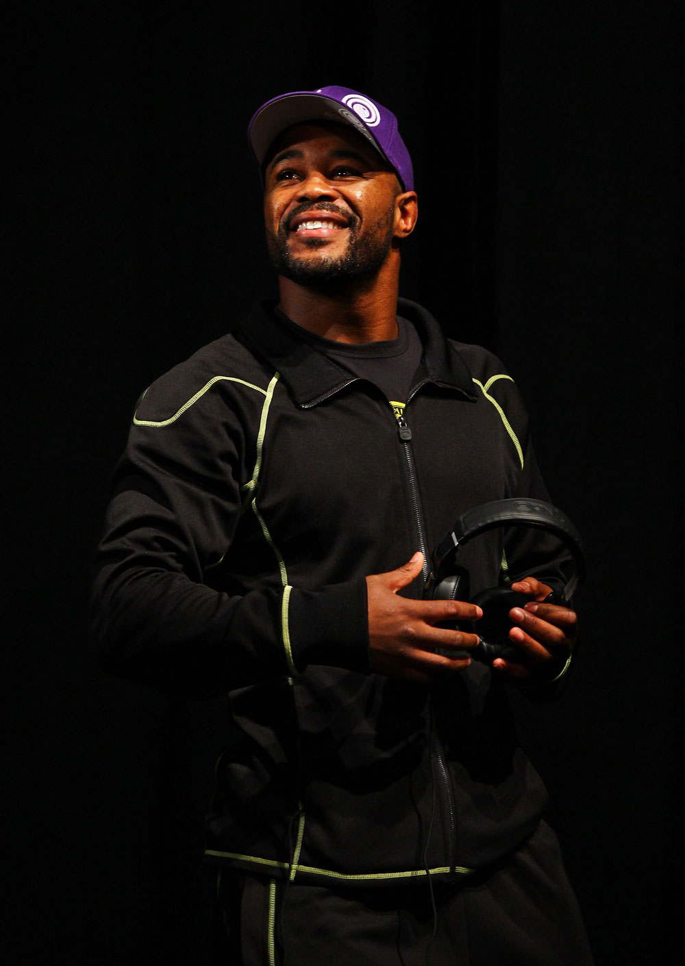 ATLANTA, GA - APRIL 20:  Light Heavyweight fighter Rashad Evans reacts during the UFC 145 official weigh in at Fox Theatre on April 20, 2012 in Atlanta, Georgia.  (Photo by Al Bello/Zuffa LLC/Zuffa LLC via Getty Images)