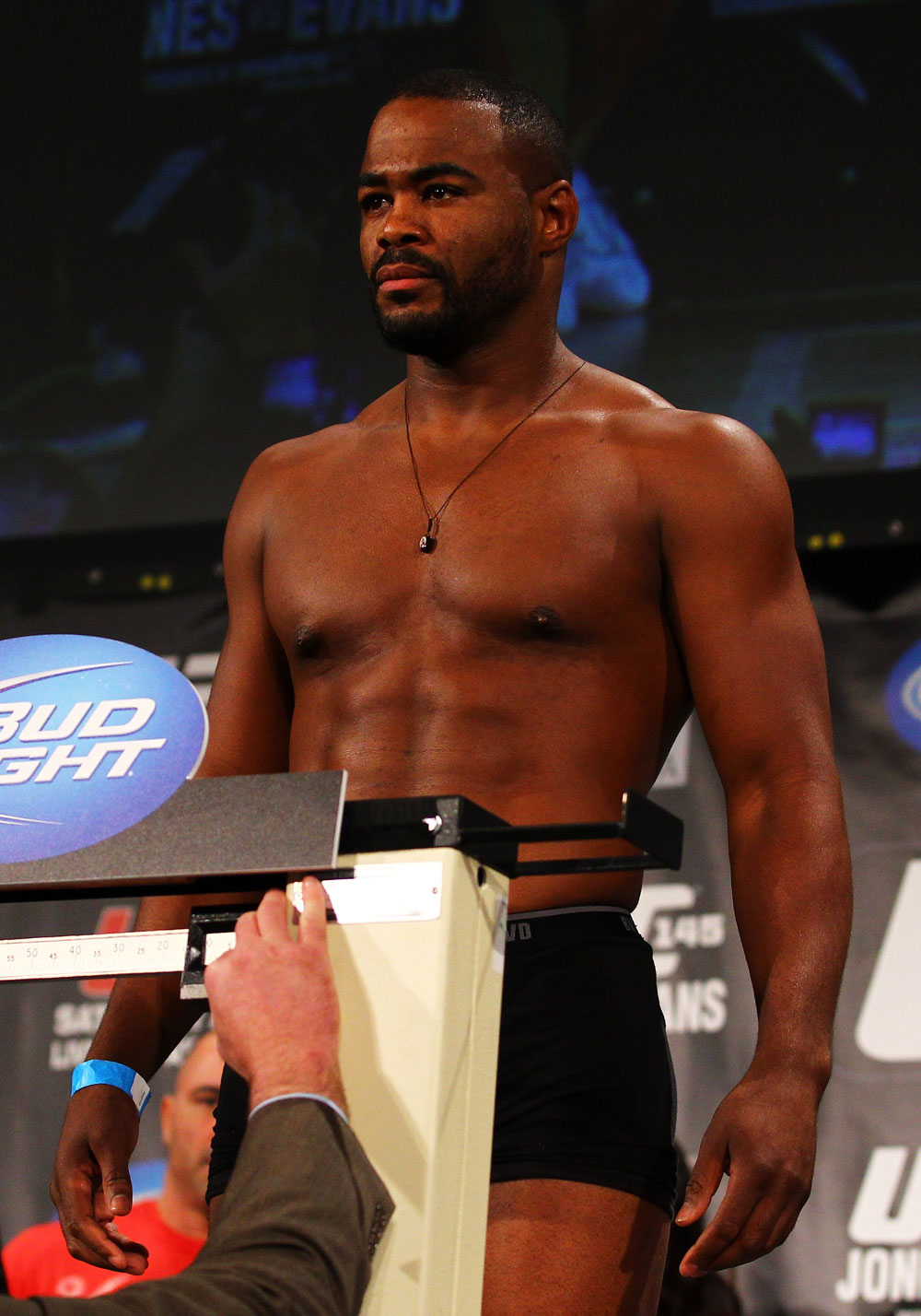 ATLANTA, GA - APRIL 20:  Rashad Evans weighs in during the UFC 145 official weigh in at Fox Theatre on April 20, 2012 in Atlanta, Georgia.  (Photo by Al Bello/Zuffa LLC/Zuffa LLC via Getty Images)