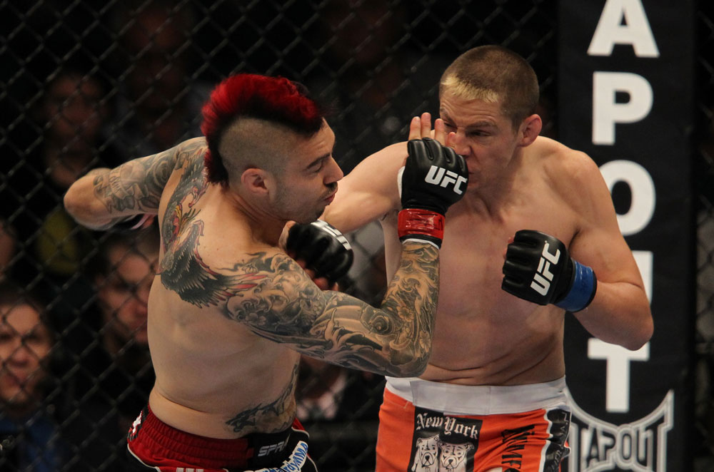LAS VEGAS, NV - MAY 26:  Duane Ludwig (right) punches Dan Hardy during a welterweight bout at UFC 146 at MGM Grand Garden Arena on May 26, 2012 in Las Vegas, Nevada.  (Photo by Josh Hedges/Zuffa LLC/Zuffa LLC via Getty Images)