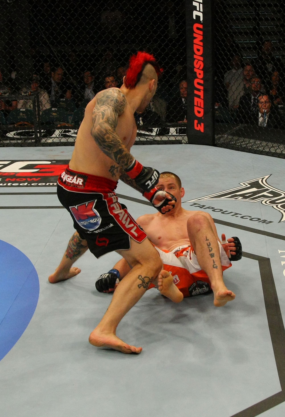 LAS VEGAS, NV - MAY 26:  Dan Hardy (top) moves in to finish Duane Ludwig during a welterweight bout at UFC 146 at MGM Grand Garden Arena on May 26, 2012 in Las Vegas, Nevada.  (Photo by Donald Miralle/Zuffa LLC/Zuffa LLC via Getty Images)
