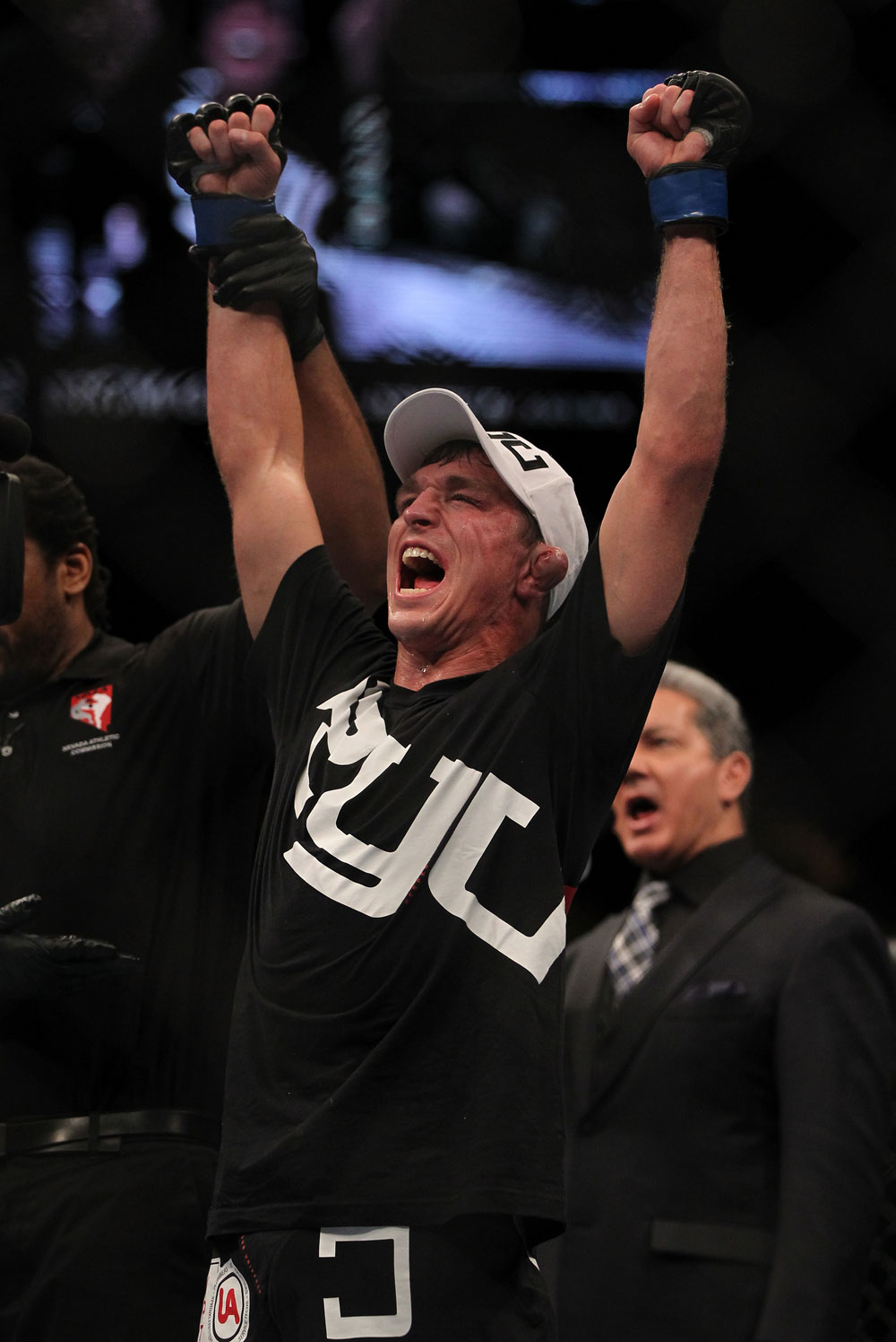 LAS VEGAS, NV - MAY 26:  Darren Elkins reacts to being declared the winner in his fight against Diego Brandao during a featherweight bout at UFC 146 at MGM Grand Garden Arena on May 26, 2012 in Las Vegas, Nevada.  (Photo by Josh Hedges/Zuffa LLC/Zuffa LLC via Getty Images)