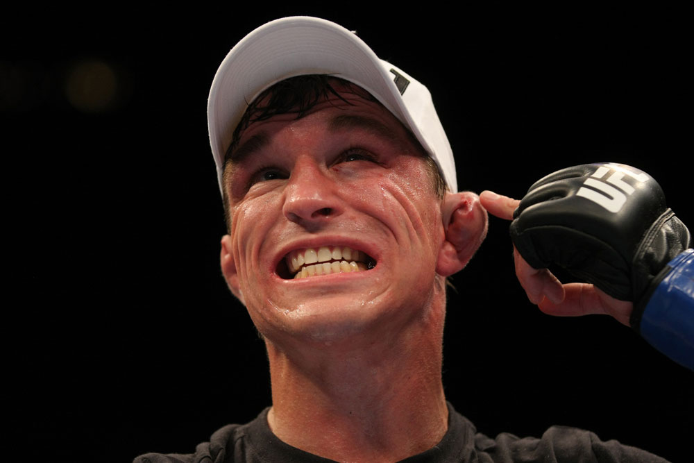 LAS VEGAS, NV - MAY 26:  Darren Elkins point to his ear during a featherweight bout at UFC 146 at MGM Grand Garden Arena on May 26, 2012 in Las Vegas, Nevada.  (Photo by Donald Miralle/Zuffa LLC/Zuffa LLC via Getty Images)