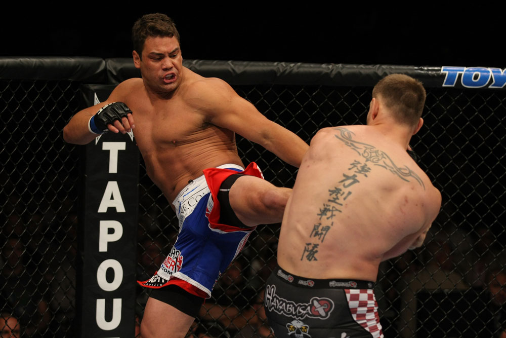 LAS VEGAS, NV - MAY 26:  Shane Del Rosario (L) kicks Stipe Miocic during a heavyweight bout at UFC 146 at MGM Grand Garden Arena on May 26, 2012 in Las Vegas, Nevada.  (Photo by Donald Miralle/Zuffa LLC/Zuffa LLC via Getty Images)
