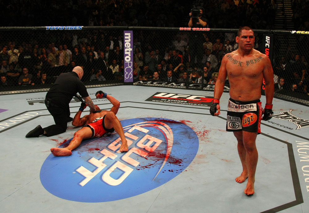 LAS VEGAS, NV - MAY 26:  Cain Velasquez (R) reacts after defeating Antonio Silva during a heavyweight bout at UFC 146 at MGM Grand Garden Arena on May 26, 2012 in Las Vegas, Nevada.  (Photo by Donald Miralle/Zuffa LLC/Zuffa LLC via Getty Images)