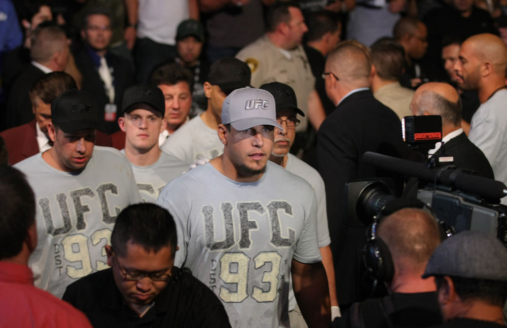 LAS VEGAS, NV - MAY 26:  Frank Mir enters the arena before his bout against Junior dos Santos at UFC 146 at MGM Grand Garden Arena on May 26, 2012 in Las Vegas, Nevada. (Photo by Donald Miralle/Zuffa LLC/Zuffa LLC via Getty Images)