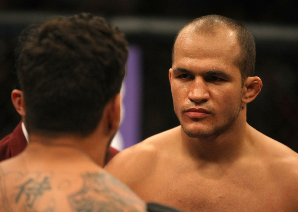 LAS VEGAS, NV - MAY 26:  Junior dos Santos (R) faces off with Frank Mir before the Heavyweight Championship bout at UFC 146 at MGM Grand Garden Arena on May 26, 2012 in Las Vegas, Nevada. (Photo by Donald Miralle/Zuffa LLC/Zuffa LLC via Getty Images)
