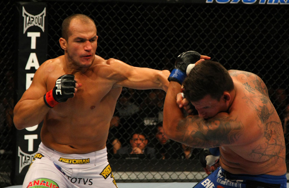LAS VEGAS, NV - MAY 26:  Junior dos Santos (L) punches Frank Mir during the Heavyweight Championship bout at UFC 146 at MGM Grand Garden Arena on May 26, 2012 in Las Vegas, Nevada. (Photo by Donald Miralle/Zuffa LLC/Zuffa LLC via Getty Images)