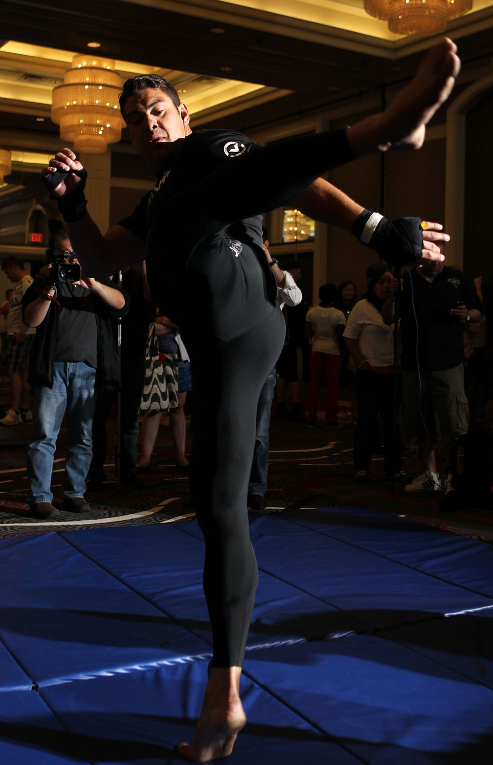 LAS VEGAS, NV - MAY 23:   Shane Del Rosario works out for the media and fans during the UFC 146 Open Workouts at MGM Grand on May 23, 2012 in Las Vegas, Nevada.  (Photo by Josh Hedges/Zuffa LLC/Zuffa LLC via Getty Images)