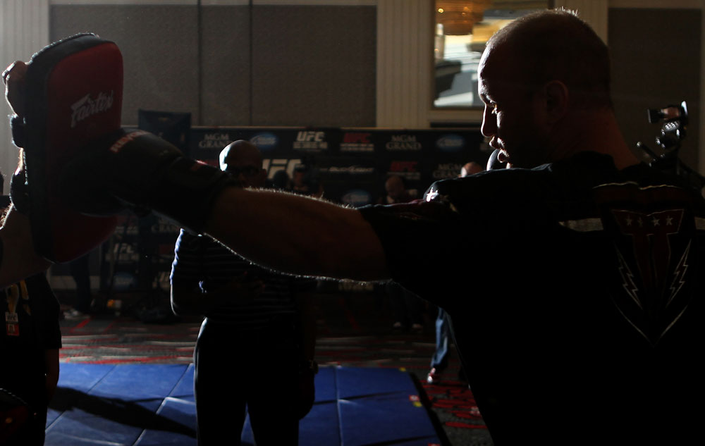 LAS VEGAS, NV - MAY 23:   Dave Herman works out for the media and fans during the UFC 146 Open Workouts at MGM Grand on May 23, 2012 in Las Vegas, Nevada.  (Photo by Josh Hedges/Zuffa LLC/Zuffa LLC via Getty Images)