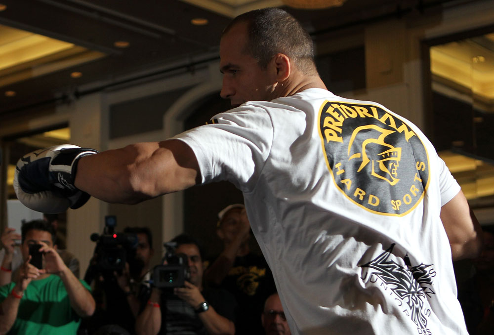 LAS VEGAS, NV - MAY 23:   UFC Heavyweight Champion Junior dos Santos works out for the media and fans during the UFC 146 Open Workouts at MGM Grand on May 23, 2012 in Las Vegas, Nevada.  (Photo by Josh Hedges/Zuffa LLC/Zuffa LLC via Getty Images)