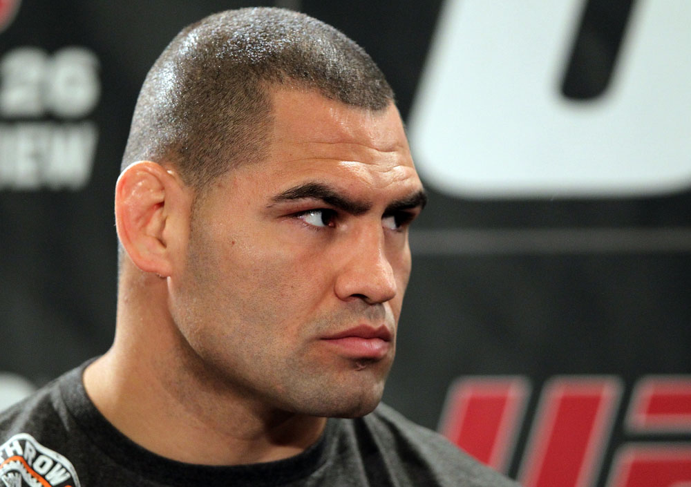 LAS VEGAS, NV - MAY 24:   Former UFC Heavyweight Champion Cain Velasquez attends the UFC 146 press conference at MGM Grand on May 24, 2012 in Las Vegas, Nevada.  (Photo by Josh Hedges/Zuffa LLC/Zuffa LLC via Getty Images)