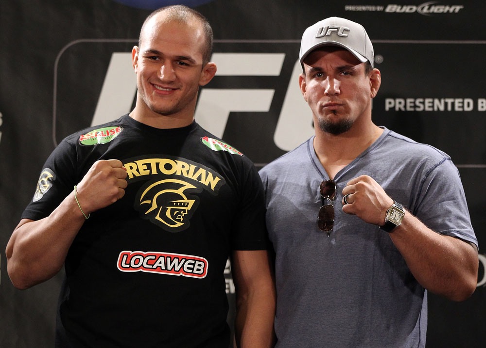 LAS VEGAS, NV - MAY 24:   (L-R) UFC Heavyweight Champion Junior dos Santos and challenger Frank Mir pose for photos during the UFC 146 press conference at MGM Grand on May 24, 2012 in Las Vegas, Nevada.  (Photo by Josh Hedges/Zuffa LLC/Zuffa LLC via Getty Images)