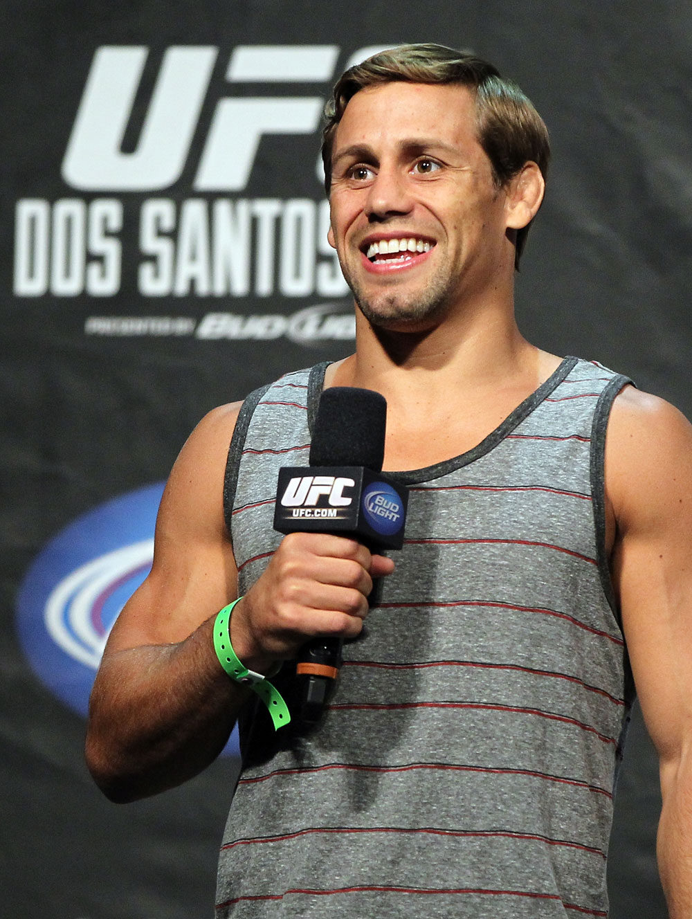 LAS VEGAS, NV - MAY 25:   Urijah Faber interacts with fans during a Q&A session before the UFC 146 official weigh in at the MGM Grand Garden Arena on May 25, 2012 in Las Vegas, Nevada.  (Photo by Josh Hedges/Zuffa LLC/Zuffa LLC via Getty Images)