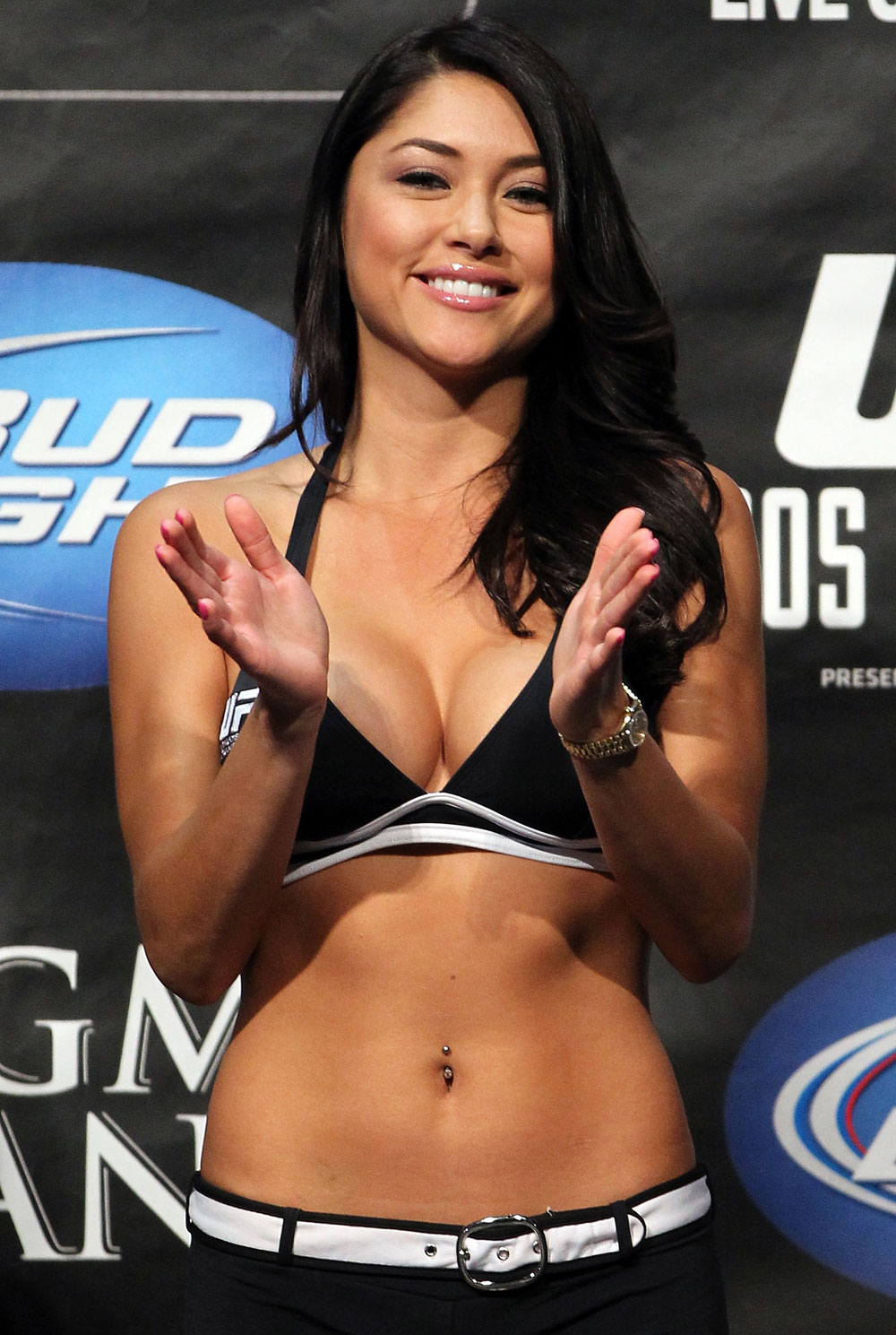 LAS VEGAS, NV - MAY 25:   UFC Octagon Girl Arianny Celeste attends the UFC 146 official weigh in at the MGM Grand Garden Arena on May 25, 2012 in Las Vegas, Nevada.  (Photo by Josh Hedges/Zuffa LLC/Zuffa LLC via Getty Images)