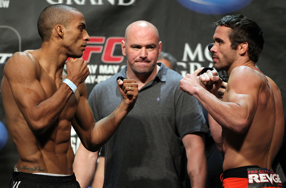LAS VEGAS, NV - MAY 25:   (L-R) Opponents Edson Barboza and Jamie Varner face off after making weight during the UFC 146 official weigh in at the MGM Grand Garden Arena on May 25, 2012 in Las Vegas, Nevada.  (Photo by Josh Hedges/Zuffa LLC/Zuffa LLC via Getty Images)