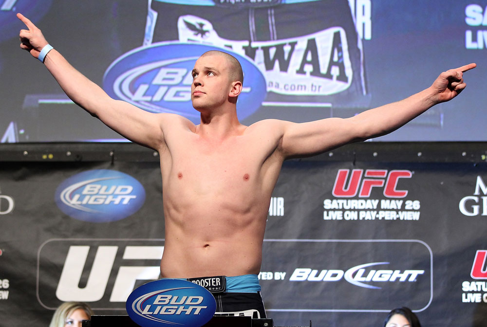 LAS VEGAS, NV - MAY 25:   Stefan Struve makes weight during the UFC 146 official weigh in at the MGM Grand Garden Arena on May 25, 2012 in Las Vegas, Nevada.  (Photo by Josh Hedges/Zuffa LLC/Zuffa LLC via Getty Images)