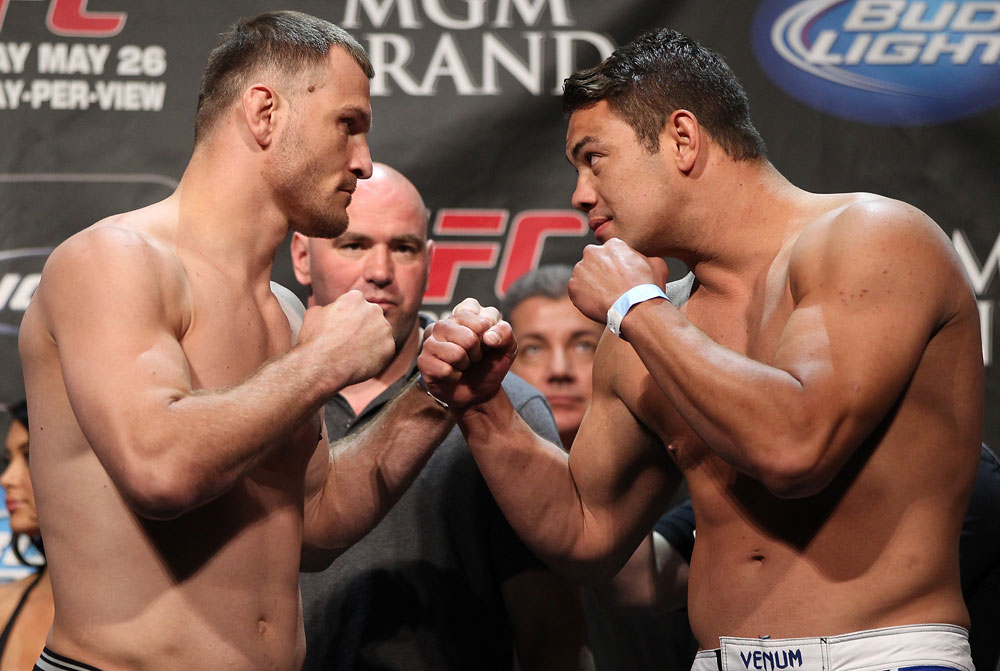 LAS VEGAS, NV - MAY 25:   (L-R) Opponents Stipe Miocic and Shane Del Rosario face off after making weight during the UFC 146 official weigh in at the MGM Grand Garden Arena on May 25, 2012 in Las Vegas, Nevada.  (Photo by Josh Hedges/Zuffa LLC/Zuffa LLC via Getty Images)