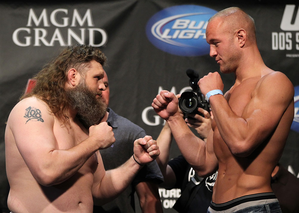 LAS VEGAS, NV - MAY 25:   (L-R) Opponents Roy Nelson and Dave Herman face off after making weight during the UFC 146 official weigh in at the MGM Grand Garden Arena on May 25, 2012 in Las Vegas, Nevada.  (Photo by Josh Hedges/Zuffa LLC/Zuffa LLC via Getty Images)