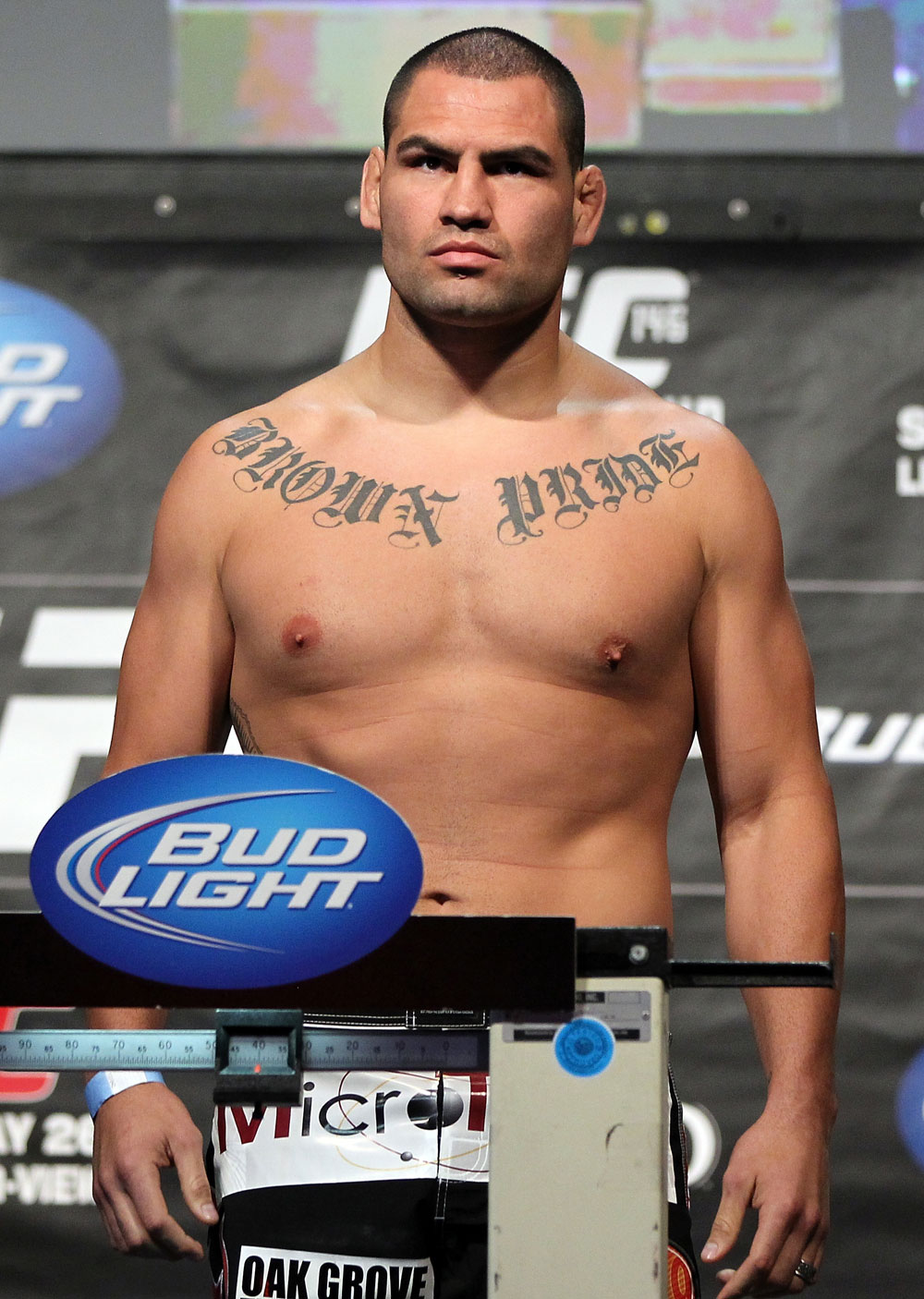 LAS VEGAS, NV - MAY 25:   Cain Velasquez makes weight ahead of his bout against Antonio Silva during the UFC 146 official weigh in at the MGM Grand Garden Arena on May 25, 2012 in Las Vegas, Nevada.  (Photo by Josh Hedges/Zuffa LLC/Zuffa LLC via Getty Images)