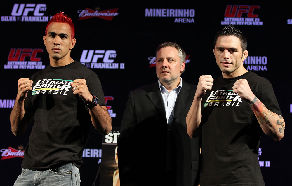 "BELO HORIZONTE, BRAZIL - JUNE 21: (L-R) Opponents Godofredo Pepey and Rony ""Jason"" Mariano Bezerra pose for photos at the UFC 147 press conference at Ouro Minas Palace on June 21, 2012 in Belo Horizonte, Brazil. (Photo by Josh Hedges/Zuffa LLC/Zuffa LLC via Getty Images)"
