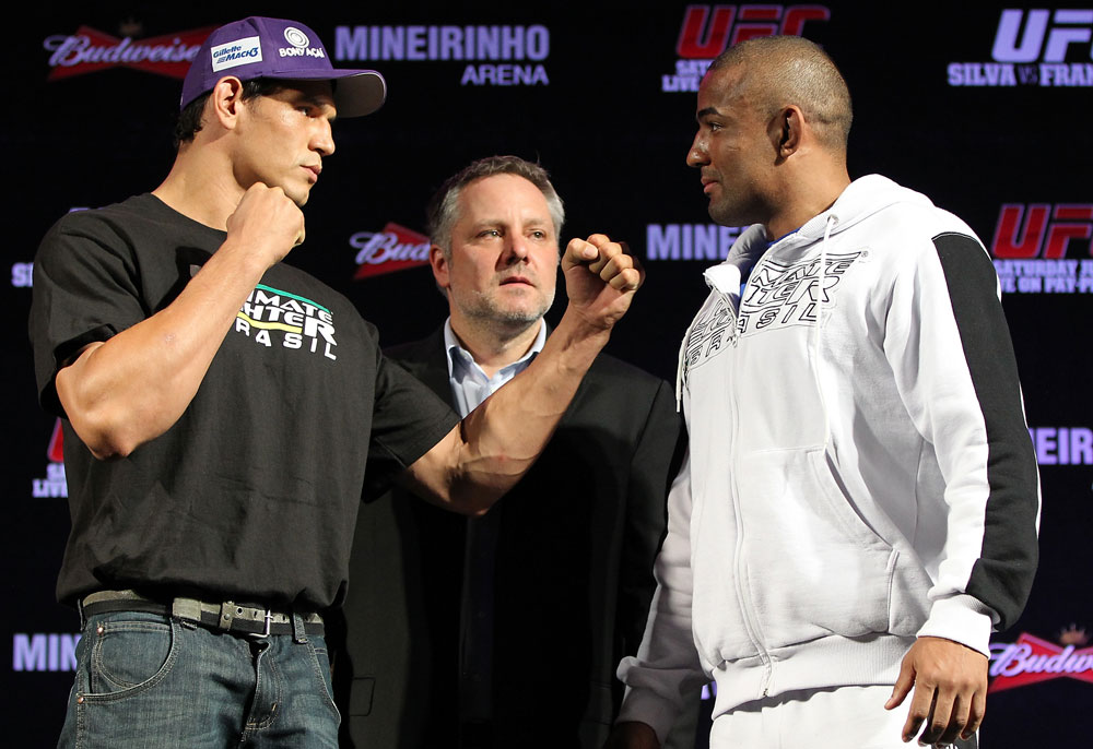 BELO HORIZONTE, BRAZIL - JUNE 21:   (L-R) Opponents Cezar &quot;Mutante&quot; Ferreira and Sergio &quot;Serginho&quot; Moraes face off during the UFC 147 press conference at Ouro Minas Palace on June 21, 2012 in Belo Horizonte, Brazil.  (Photo by Josh Hedges/Zuffa LLC/Zuffa LLC via Getty Images)