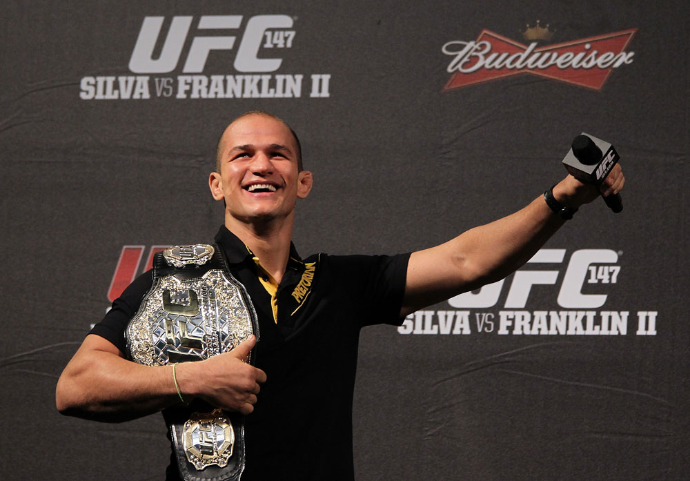 BELO HORIZONTE, BRAZIL - JUNE 22:  UFC Heavyweight Champion Junior dos Santos interacts with fans during a Q&A session before the UFC 147 weigh in at Estádio Jornalista Felipe Drummond on June 22, 2012 in Belo Horizonte, Brazil.  (Photo by Josh Hedges/Zuffa LLC/Zuffa LLC via Getty Images)