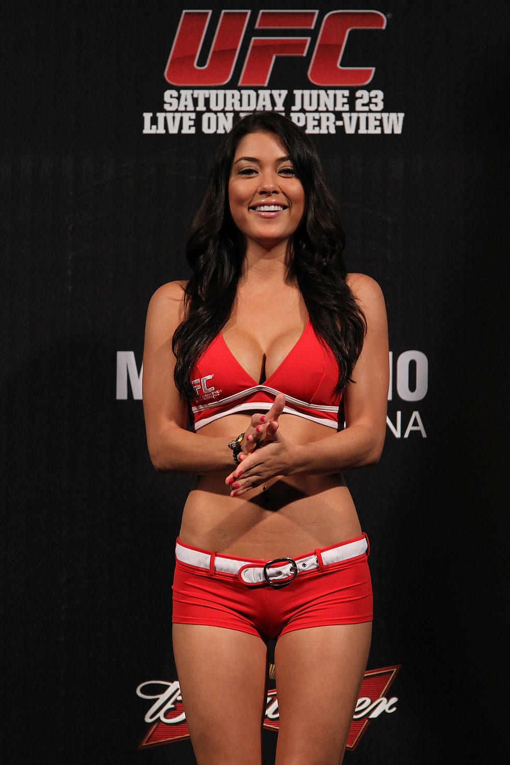 BELO HORIZONTE, BRAZIL - JUNE 22:   UFC Octagon Girl Arianny Celeste attends the UFC 147 weigh in at Est&Atilde;&iexcl;dio Jornalista Felipe Drummond on June 22, 2012 in Belo Horizonte, Brazil.  (Photo by Josh Hedges/Zuffa LLC/Zuffa LLC via Getty Images)