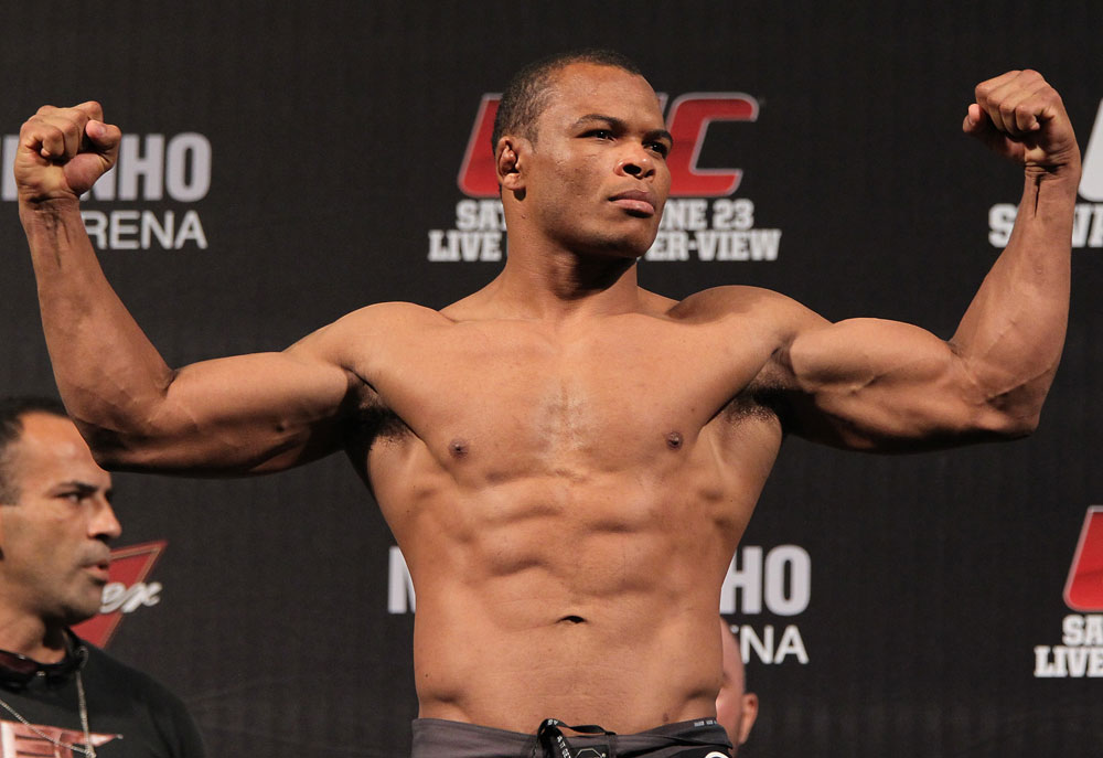 BELO HORIZONTE, BRAZIL - JUNE 22:   Francisco Trinaldo makes weight during the UFC 147 weigh in at Est&Atilde;&iexcl;dio Jornalista Felipe Drummond on June 22, 2012 in Belo Horizonte, Brazil.  (Photo by Josh Hedges/Zuffa LLC/Zuffa LLC via Getty Images)