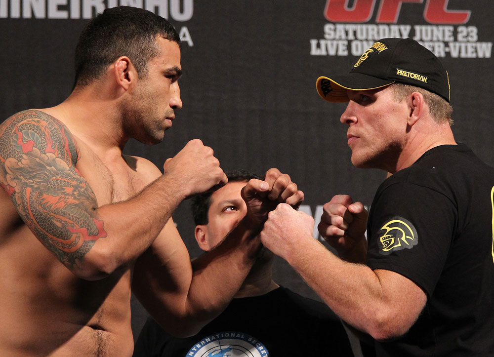 BELO HORIZONTE, BRAZIL - JUNE 22:   (L-R) Opponents Fabricio Werdum and Mike Russow face off after making weight during the UFC 147 weigh in at Estadio Jornalista Felipe Drummond on June 22, 2012 in Belo Horizonte, Brazil.  (Photo by Josh Hedges/Zuffa LLC/Zuffa LLC via Getty Images)