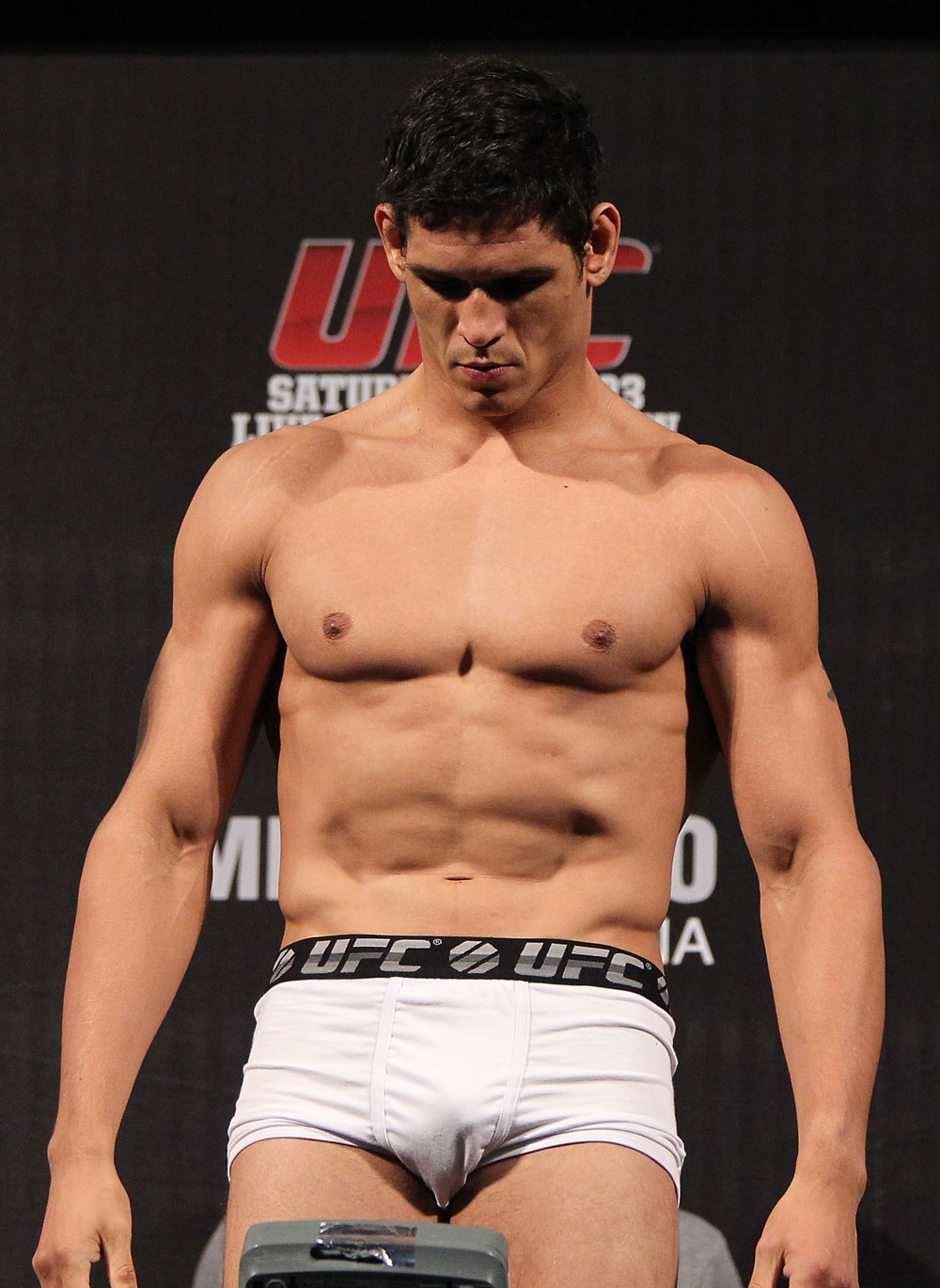 "BELO HORIZONTE, BRAZIL - JUNE 22:   Cezar ""Mutante"" Ferreira makes weight during the UFC 147 weigh in at Estadio Jornalista Felipe Drummond on June 22, 2012 in Belo Horizonte, Brazil.  (Photo by Josh Hedges/Zuffa LLC/Zuffa LLC via Getty Images)"