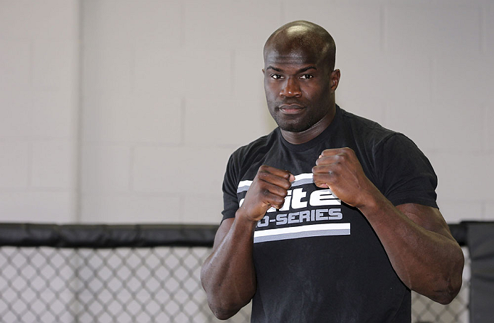 CALGARY, CANADA - JULY 18: Cheick Kongo works out for the fans and media during the UFC 149 Open Workouts inside Champion&#39;s Creed Gym on July 18, 2012 in Calgary, Alberta.  (Photo by Jeff Bottari/Zuffa LLC/Zuffa LLC via Getty Images)
