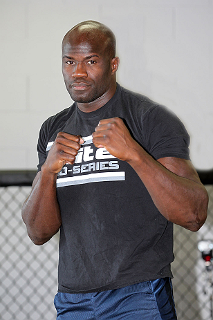 CALGARY, CANADA - JULY 18: Cheick Kongo works out for the fans and media during the UFC 149 Open Workouts inside Champion&#39;s Creed Gym on July 18, 2012 in Calgary, Alberta, Canada  (Photo by Jeff Bottari/Zuffa LLC/Zuffa LLC via Getty Images)