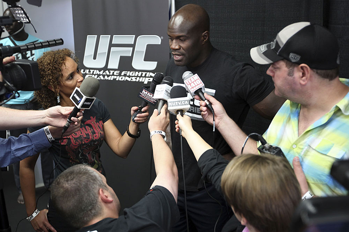 CALGARY, CANADA - JULY 18: Cheick Kongo speaks to the media during the UFC 149 Open Workouts inside Champion&#39;s Creed Gym on July 18, 2012 in Calgary, Alberta, Canada.  (Photo by Jeff Bottari/Zuffa LLC/Zuffa LLC via Getty Images)