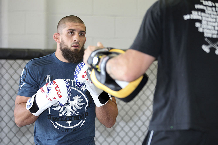 CALGARY, CANADA - JULY 18: Court McGee works out for the fans and media during the UFC 149 Open Workouts inside Champion&#39;s Creed Gym on July 18, 2012 in Calgary, Alberta, Canada.  (Photo by Jeff Bottari/Zuffa LLC/Zuffa LLC via Getty Images)