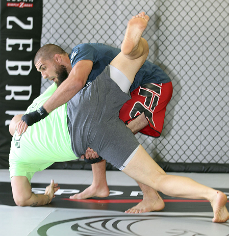 CALGARY, CANADA - JULY 18: Court McGee grapples his workout partner in front of the fans and media during the UFC 149 Open Workouts inside Champion&#39;s Creed Gym on July 18, 2012 in Calgary, Alberta.  (Photo by Jeff Bottari/Zuffa LLC/Zuffa LLC via Getty Images)