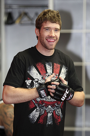 CALGARY, CANADA - JULY 18:  Mitch Clarke works out for the fans and media during the UFC 149 Open Workouts inside Champion&#39;s Creed Gym on July 18, 2012 in Calgary, Alberta, Canada.  (Photo by Jeff Bottari/Zuffa LLC/Zuffa LLC via Getty Images)