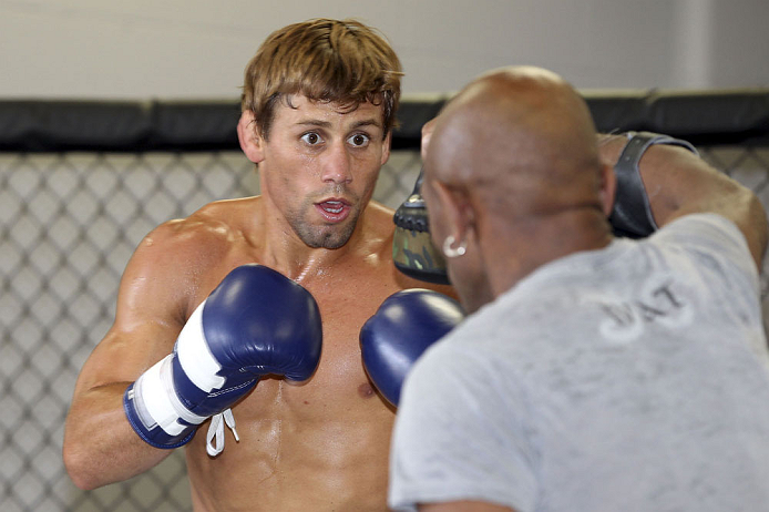 CALGARY, CANADA - JULY 18: Uriah Faber works out for the fans and media during the UFC 149 Open Workouts inside Champion's Creed Gym on July 18, 2012 in Calgary, Alberta, Canada.  (Photo by Jeff Bottari/Zuffa LLC/Zuffa LLC via Getty Images)