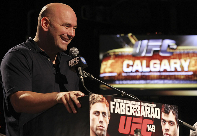 CALGARY, CANADA - JULY 19: UFC President Dana White attends the UFC 149 press conference at the Flames Central Sports Club on July 19, 2012 in Calgary, Alberta, Canada. (Photo by Jeff Bottari/Zuffa LLC/Zuffa LLC via Getty Images)