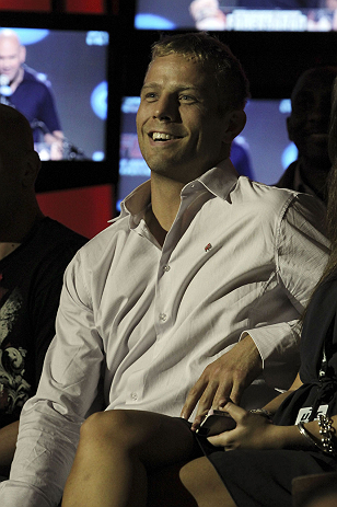 CALGARY, CANADA - JULY 19: Nick Ring sits in the crowd at the UFC 149 press conference at the Flames Central Sports Club on July 19, 2012 in Calgary, Alberta, Canada. (Photo by Jeff Bottari/Zuffa LLC/Zuffa LLC via Getty Images)