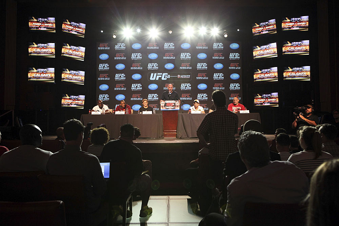 CALGARY, CANADA - JULY 19: UFC President Dana White speaks to the media at the UFC 149 press conference at the Flames Central Sports Club on July 19, 2012 in Calgary, Alberta, Canada. (Photo by Jeff Bottari/Zuffa LLC/Zuffa LLC via Getty Images)
